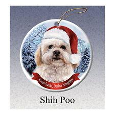 Shih Poo Howliday Porcelain China Dog Christmas Ornament