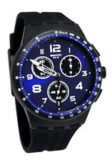 Swatch SUSB402 Night Speed Blue Chrono Date Black Silicone Unisex Watch NEW