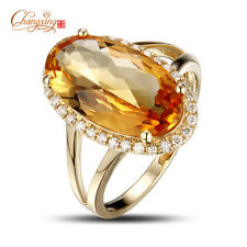 Promotion 14K Yellow Gold 4.93ct Natural IF Citrine Engagement Diamond Ring #6.5