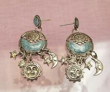 Berebi Silver Tone Celestial Blue Enamel Pierced Earrings Sun, Moon Star Charms