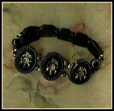VICTORIAN  MOURNING JEWELLERY - REAL WHITBY JET BRACELET - GOLD LEAF