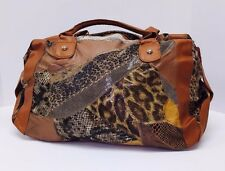 New Women's Brown Patch Leather Animal Print Tote Fashion Shoulder Handbag Gift