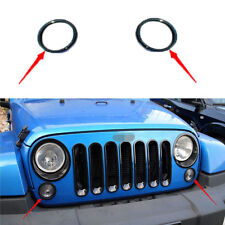 Black Turn Light Lamp Cover Ring Trim Fit For Jeep JK Wrangler 07-16 2pieces