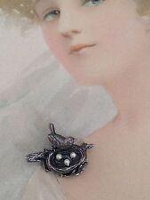 Vintage Sterling Silver Designer Signed ANSON Bird Nest Brooch Perfct Babyshower