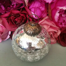 Silver Round Mercury Crackle Glass Bauble, Vintage Christmas Tree Decoration