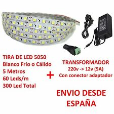 Kit Tira de Led 5050 INTERIOR Blanco Frio o Cálido + Transformador 5A  60 Led/m