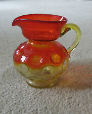 RED and AMBER COIN DOT STYLE SMALL ART GLASS PITCHER