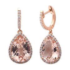 4.78CT F VS Morganite & Diamond Drop Dangle Halo Style 14kt Rose gold Earrings