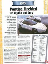 Pontiac Firebird 1993  USA  Car Auto FICHE FRANCE