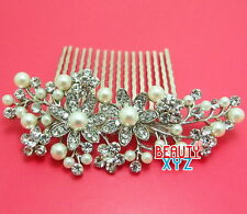 Vintage Style Bridal small Flowers Leaf Pearl Rhinestone Crystal Clear Hair Comb