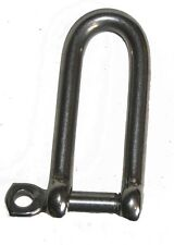 "NAUTOS 203-1 - 6mm (1/4"") - LONG D SHACKLE WITH SCREW PIN WITH EYE - Captive pin"