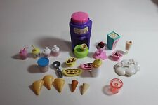 Barbie doll house Accessory Ice Cream Shop Stuff, cones, sundae, malt lot