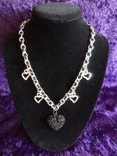 Black Ribbon & Chain Necklace with Black & Silvertone Heart Pendants