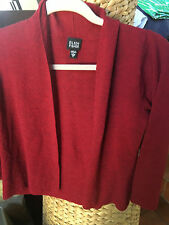 Eileen Fisher Red Cardigan 100% Wool Italian Yarn Size S