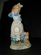 """Japanese Porcelain 8"""" Young Girl Holding Hat  w Cat Kitten Bisque Figurine-Japan"""