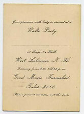 West Lebanon, NH invitation to Waltz Party - late 1800s