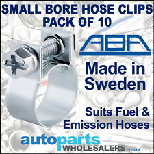 ABA FUEL & EMISSION HOSE CLIPS CLAMPS 10mm to 12mm - PACK OF 10 - MADE IN SWEDEN
