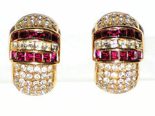 Signed Christian Dior Clip Earrings Gold w/Clear Crystals & Ruby Germany