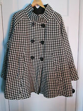 Wool Rain Coat, 24W ~ HOUNDSTOOTH Reversible Raincoat ~ Plus Size Chelsea Studio