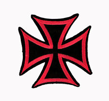 Black & Red Iron Cross Motorcycles Embroidered Iron on Patch Free Shipping
