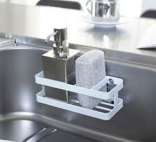 Kitchen Sink Steel Caddy in White Bathroom Organizer Compact Holder Suction Cups