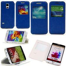 Samsung Galaxy S4 mini 9190 Handy Flip Fenster Tasche Case Hülle Klapp Etui Blau