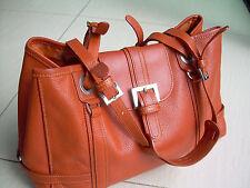 """AUTHENTIQUE SAC """"LONGCHAMP"""" en cuir grainé orange TBE leather BAG"""