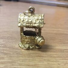 9ct Yellow Gold Wishing Well Charm For Bracelet L190 5.7g