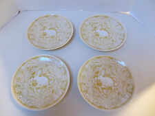 "NEW SET OF 4 POTTERY BARN EASTER GRAPHIC BUNNY RABBIT 8"" PLATES - YELLOW"