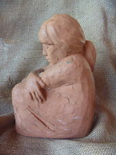 Vintage Artist Signed Clay Sculpture Statue Sitting Girl Arms Crossed Over Knees