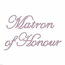 Matron of Honour Iron on Purple Rhinestone Crystal T Shirt Transfer