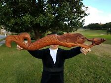 "31"" LONG  HANDCARVED TEAK WOOD ""MERMAID"" WALL DECOR POINTING TO THE RIGHT!!!"