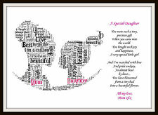 16th 18th 21st Daughter Mum Birthday Day Son Personalised Word Art Gift Keepsake