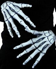 Men Women's Ghostly Skeleton Bone Hands Halloween Fancy Dress Costume Gloves Fun
