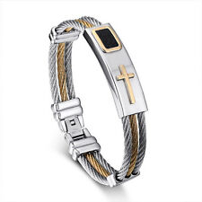 Mens Womens Stainless Steel Bangle 2 Tone Cable Wire Cross Bracelet + Box BL133
