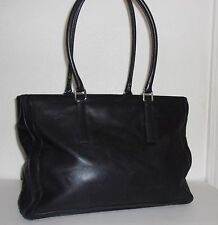 Vintage Coach Large Black Leather Briefcase Style Purse Handbag Big Bag #9426