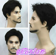 Fashion man men boy short black Natural Hair wigs + Wig cap