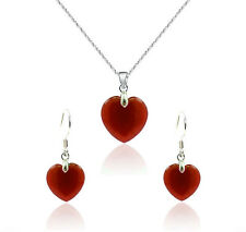 AAA+ Natural Red Jade Heart Pendant Necklace +Earrings Jewerly set
