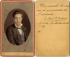 1879 MEXICO YOUNG MAN BEAUTIFULLY HAND-COLORED POLKA DOT VEST CDV