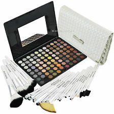 88 Color Warm Eye Shadow Makeup Palette & 20x Brush White Swan Set (588F-813)