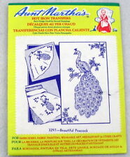 AUNT MARTHA'S #3297 BEAUTIFUL PEACOCK EMBROIDERY Transfer pattern used and cut