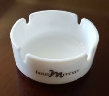 "HOTEL MERCURE-VINTAGE ROUND MILK GLASS ASHTRAY-MADE IN FRANCE-3.25"" DIAMETER"