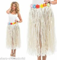 "Ladies Hawaiian Hula Girl Grass Skirt Fancy Dress Costume 24-50"" Waist Plus Size"
