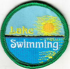 """LAKE SWIMMING"" - OUTDOORS - SWIMMER - SPORT -  Iron On Embroidered Patch"