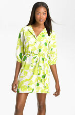$385 Diane Von Furstenberg Julieta Sketch Garden Lime Floral Shirtdress Dress 4
