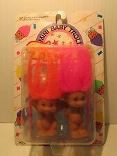 """TWO MINI BABY TROLLS -  2"""" Gigo ToyTroll Dolls - NEW ON CARD - Rare"""