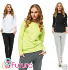 Ladies Jumper Crew Neck Top Long Sleeve Casual Sweater Tunic Size 8-12 FA411