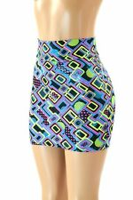 SMALL  UV Glow Neon Half Pipe Print Bodycon Mini Skirt Clubwear NWT Coquetry