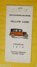 Vintage YELLOW CABS FRANKLIN 1212 AUCTION BRIDGE SCORE CARD Washington Car Auto