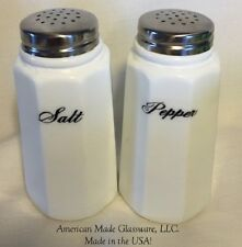 White Milk Glass Paneled Salt & Pepper Shaker Set - Cursive - Mosser USA
